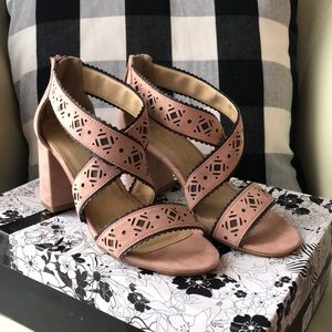 Brand New Dusty Rose colored blocked strappy heels